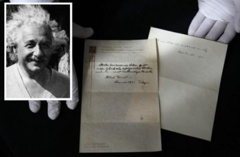 Note with Einstein's theory for happy living auctioned for $1.3 million