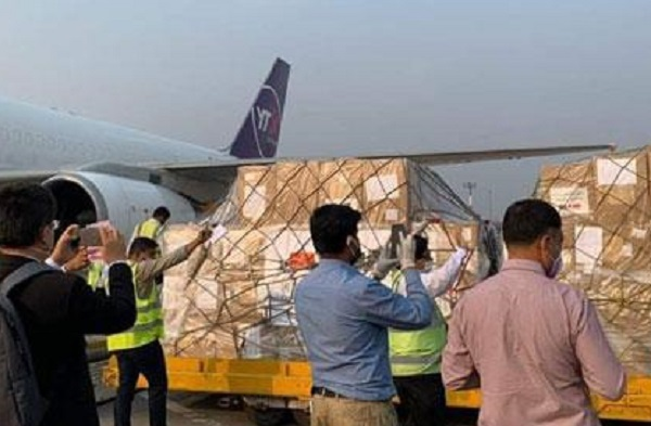 Chinese govt-donated medical logistics in Dhaka airport